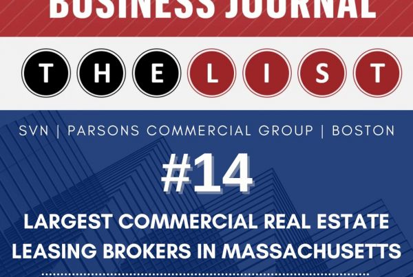 SVN | PCG Ranks #14 for Largest Commercial Real Estate Leasing Brokers in Massachusetts